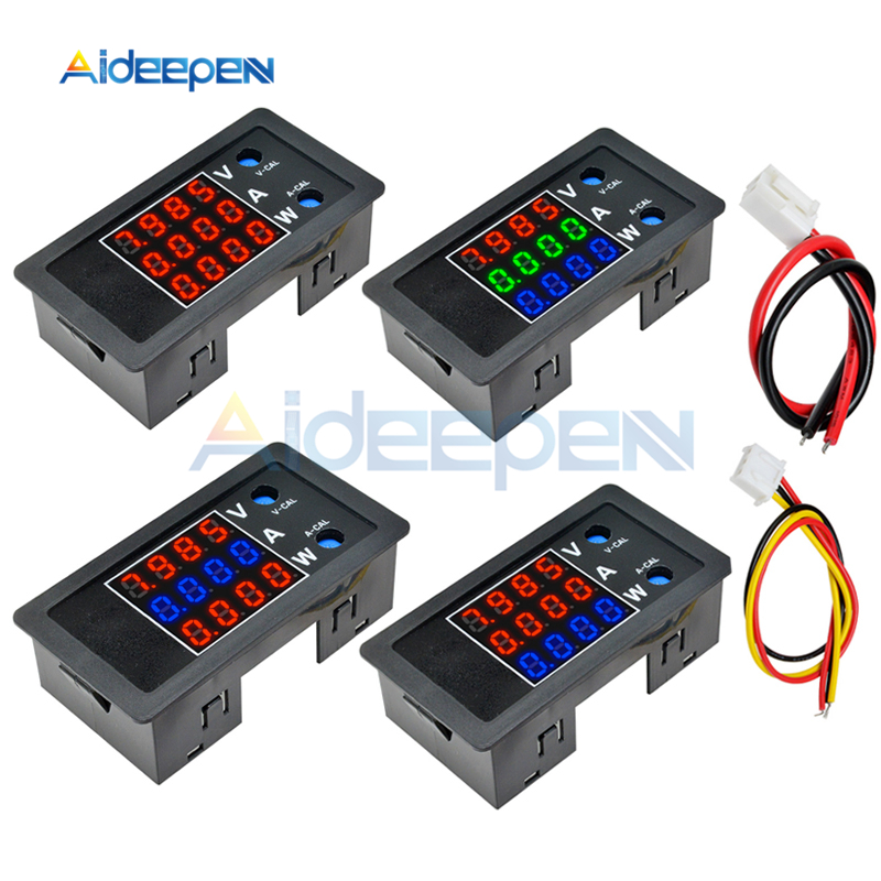 DC 0-100V 0-10A 1000W 0,28 LED voltímetro Digital amperímetro corriente de voltaje de 4 dígitos medidor de Monitor de potencia probador con cable