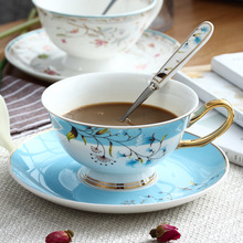 Sky Blue Floral Coffee Cup Set Ceramic Mug With Spoon Dish Ceramics Milk Decorative Drinkware Supplies