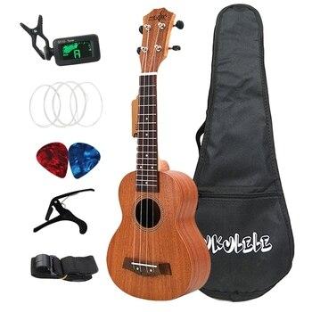 21 Inch Ukulele Soprano Sapele 15 Frets Mini Hawaii Full Kits Ukulele Guitar for Beginner Kids kmise classical mahogany 21 inch soprano ukulele neck koa wave shape head ukulele parts