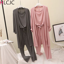 3Pcs/Set Women Pyjama Modal Cotton Sexy Lingerie Robe Pants Pajamas Sets Spring Autumn Casual Sleepwear Homewear Pijama Mujer
