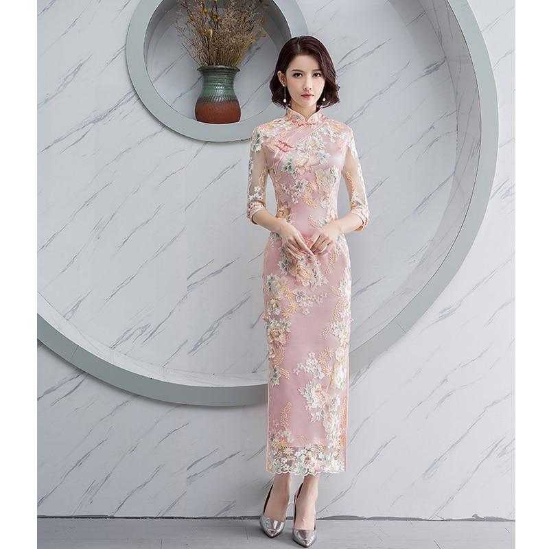 Women Dress Nightclub Dress China Style Bridesmaid Dress Banquet Long Qipao Oriental Large Size Wedding Slim Prom Cheongsam Gown