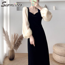 SURMIITRO Spring Autumn Gold Velvet Long Dress Women 2021 Korean Ladies Elegant Long Puff Sleeve Tunic Party Midi Dress Female
