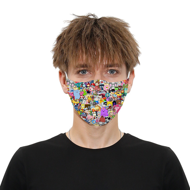Printing Reusable Protective PM2.5 Filter Mouth Mask Anti Dust Face Mask Bacteria Proof Flu Mask Women Anime Mask 4
