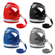 Reflective Cat Harness And Leash Set Nylon Mesh Kitten Puppy Dogs Vest Leads Pet Clothes For Small Yorkies Pug