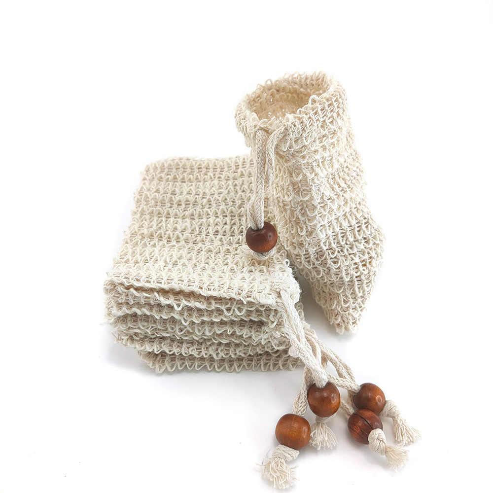 5 adet Sisal kenevir sabun çantası Blister köpük makinesi çift katmanlı Mesh sabun Net köpük kolay kabarcık örgü çanta banyo temizleme araçları