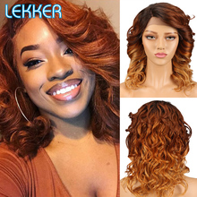 Human-Hair-Wigs Lace-Part Ombre Loose Fashion Lekker with Dark-Roots for Black-Women