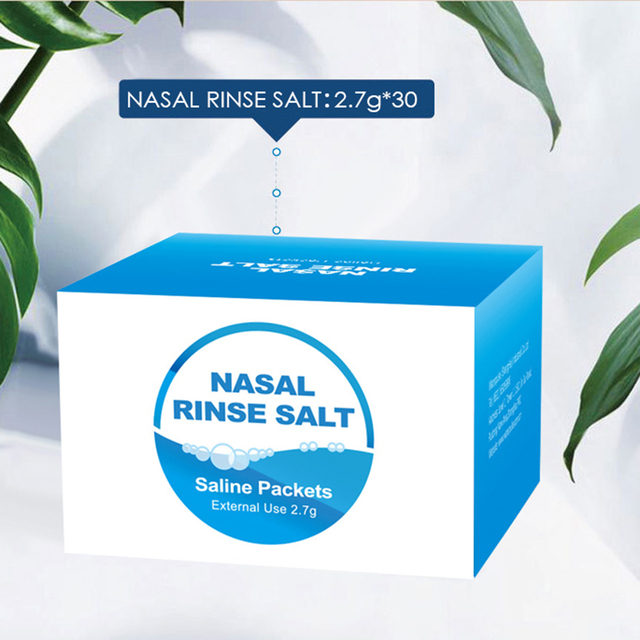 High Quality30 Pack Nasal Wash Salt 2.7g Per Pack Nasal Rinse Non-Iodized Salt  Kids Adults For 300ml Nasal Cavity Irrigation 1