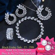 CWWZircons 4 Pcs Blatt Form Neue Mode CZ Halskette Ohrring Armband und Ring Sets Berühmte Marke Schmuck Frauen Zubehör T011