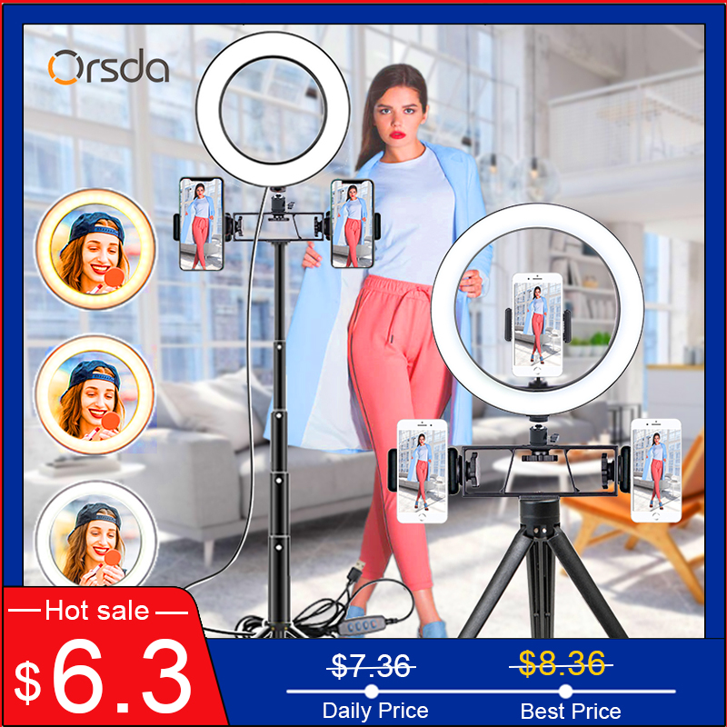 6/10inch Led Ring Light Profissional Selfie Ringlight Makeup Lamp Video Studio with Tripod 1.1/1.6M Stand For Youtube Tik Tok