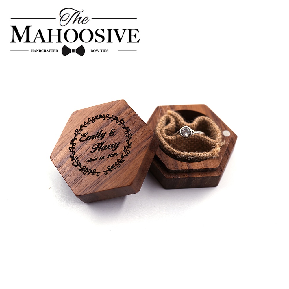 Custom Ring Bearer Box Personalized Wedding Engagement Wedding Rings Wood Ring Holder Box Rustic Wedding Custom