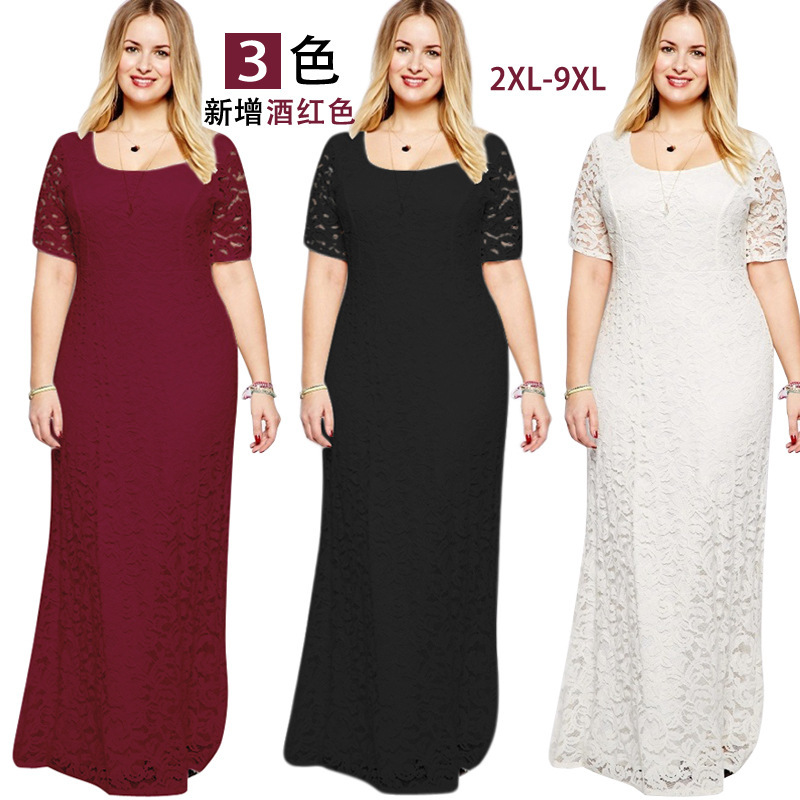 Hot Selling Fat Mm Large Size Dress Europe And America Elegant Evening Gown Short-sleeve Dress Lace Long Skirts