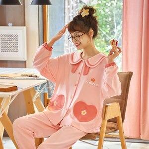 Image 2 - Женский пижамный комплект, длинная Хлопковая пижама с топом на осень и зиму, 2019