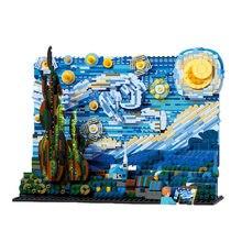 Starry van gogh pixel pintura mundo obra-prima bloco de construção moc pixel conjunto de pintura da arte tijolos diy brinquedo educacional decorativo