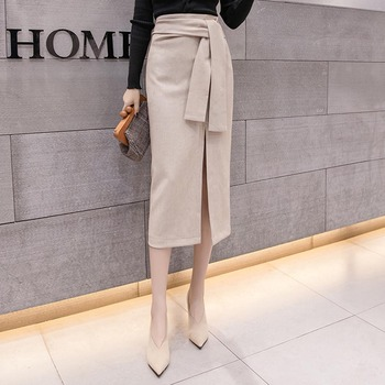 Women Long Skirt Solid High Waist Black High Waist Office Lady Split Sexy Bodycon Korean Japanese Elegant Fashion Belt self belt ruffle waist high split skirt