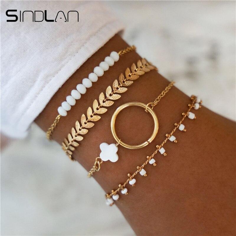 Sindlan 4PCs Old Fashion White Rhinestone Beads Bracelets for Women Vintage Gold Geometric Charm Boho Bracelet Bangles Jewelry