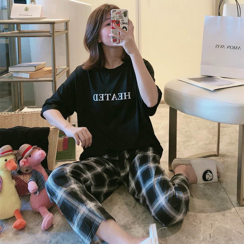 Hot Sale Cotton Night Sleepwear Spring Summer Loose Casual Pajama Sets For Women Girl's Home Suits Comfortable Pyjamas