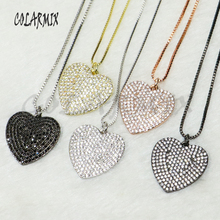 5 pieces Heart Crystal pendants necklace gift for Valentine's Day  fashion accessories heart necklace for women 50168