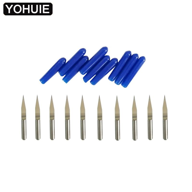 YOHUIE 10 pièces CNC gravure machine bits 3.175mm pour bois PCB graveur conseils fraise bricolage passe-temps couteau pour CNC 3018 2418 1610