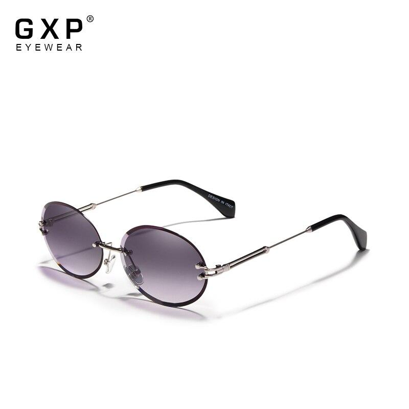 GXP модные Овальные Солнцезащитные очки для женщин без оправы Винтажные Солнцезащитные очки в оправе из сплава Классические фирменные дизай...