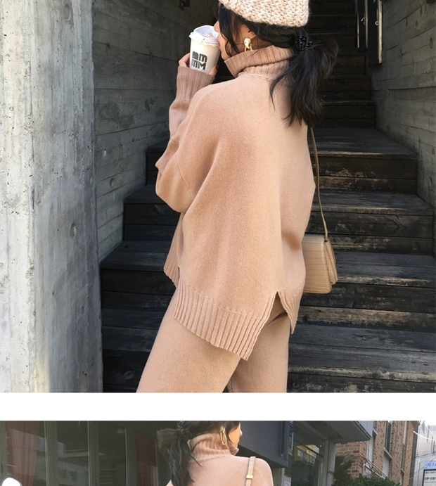 H7d95759cf4434f6a9cc6ddb4aa0577d6I - Autumn / Winter Turtleneck Sweater and Straight Solid Pants