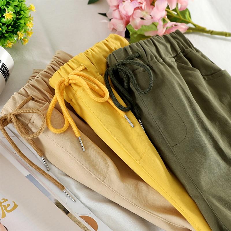 2020 New Summer Women Cargo Shorts Korean Style Drawstring High Waist Short Pocket Wide Leg Shorts Casual Loose Short Pants