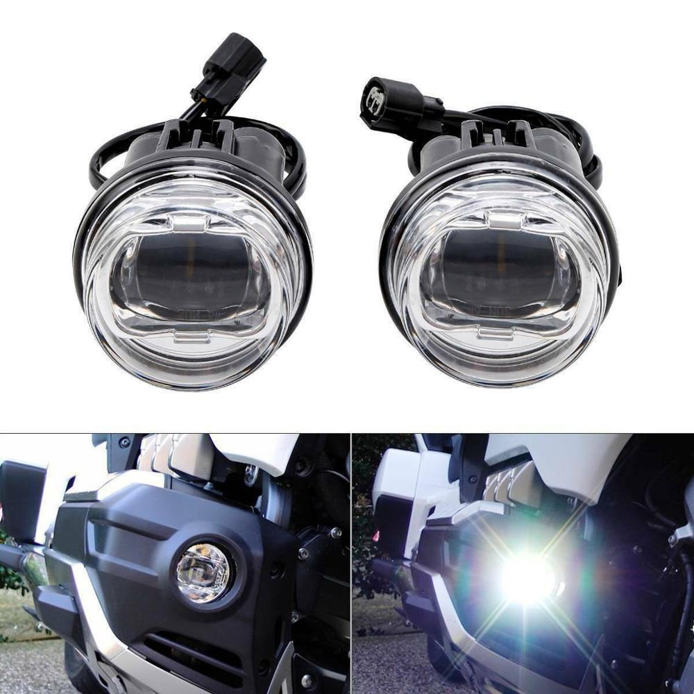 Motorcycle ABS Plastic Clear LED Foglights Attachment Kit For Honda Goldwing GL1800 2018-2020 title=