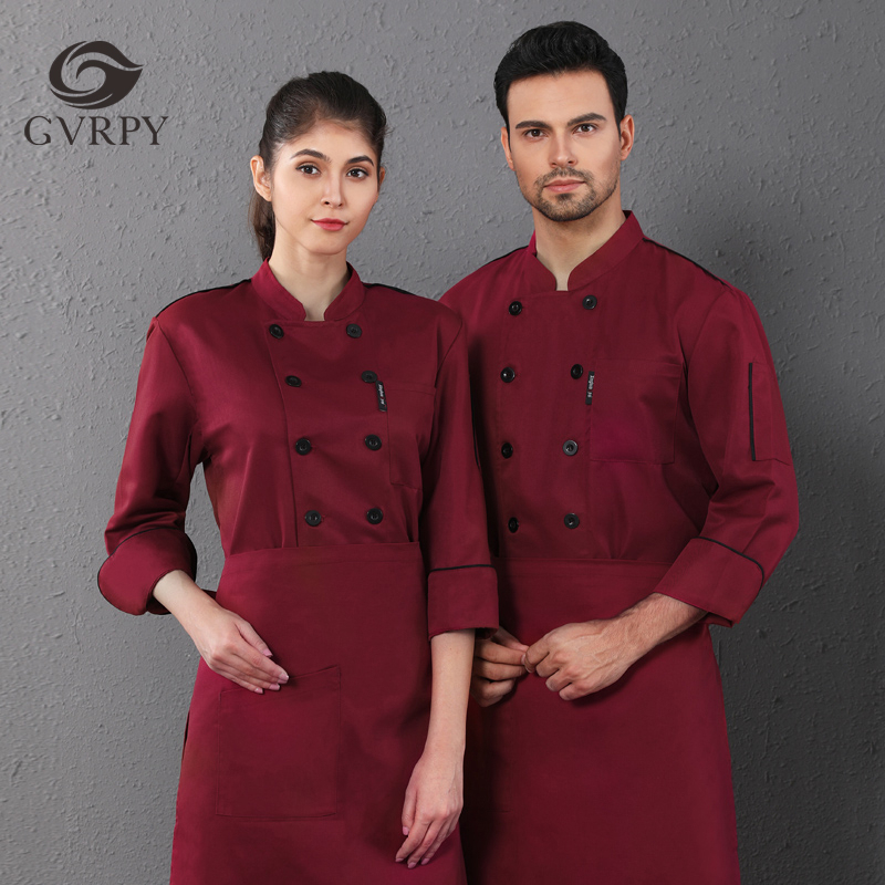 Double-breasted Long-sleeved Chef Jacket Unisex Kitchen Cooking Uniforms Hotel Cafe Bakery Shop Barber Shop Waiter Work Shirt