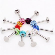 1pc New Stainless Steel Women Men Labret Lip Piercing Jewelry Crystal Ball Ear Studs Nose Body Ring