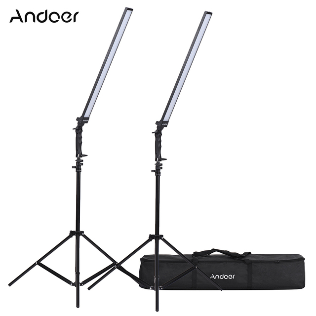 Andoer Kit de estudio de iluminación de vídeo, Kit de luz Led para estudio fotográfico, luz de relleno de mano regulable con soporte de luz 36w 5500K CRI90 +