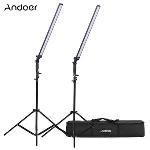 Image 1 - Andoer 비디오 조명 스튜디오 키트 사진 스튜디오 Llight Led 라이트 키트 Dimmable 핸드 헬드 필 라이트 w/라이트 스탠드 36W 5500K CRI90 +