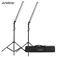 Andoer Video Llighting Studio Kit Fotostudio Llight Led Licht Kit Dimbare Handheld Vullen Licht W/Light Stand 36W 5500K CRI90 +