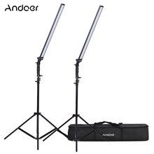 Andoer vídeo llighting studio kit photo studio llight led luz kit regulável handheld luz de preenchimento com suporte de luz 36w 5500k cri90 +