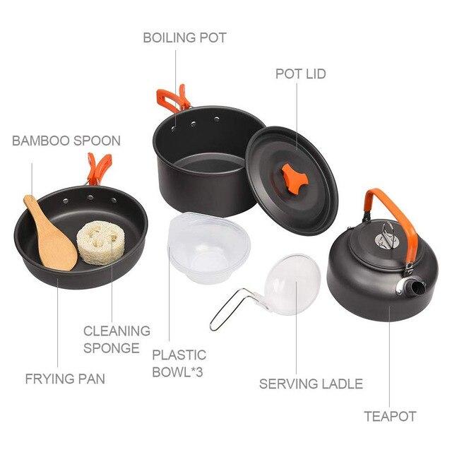 Kit de panelas acampamento ao ar livre conjunto de cozinha de alumínio chaleira água pan pot viajar caminhadas piquenique churrasco utensílios de mesa equipamentos 4