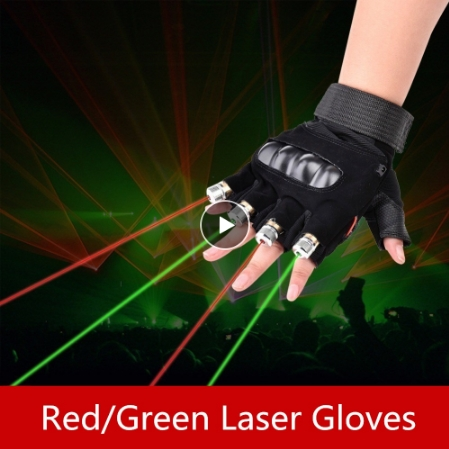 7 Lights Laser Dance Performance Glowing Gloves 2 Red 2 Purple 3 Green Tools