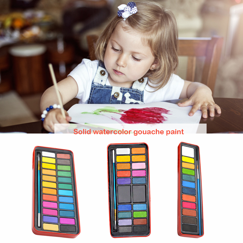12/18/24 Colors Solid Watercolor Paint Set Excellent Craftsmanship Well Durability Portable Drawing Water Color Pigment