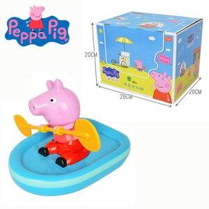 Figuras de acción originales de peppa Pig para niños, juguetes náuticos para niñas, regalos de cumpleaños, mecánica, coche de juguete, tierra de agua, juguetes de playa y baño