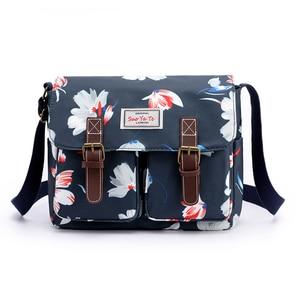 Image 2 - Bolso de hombro con estampado de flores para mujer, bandolera de nailon resistente al agua, Retro