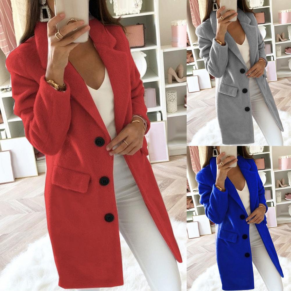 3-5XL Autumn Winter Long Sleeve Cardigan Solid Color Women Lapel Blazer Jacket Coat Women's Clothing High Quality Coat Fashion 2