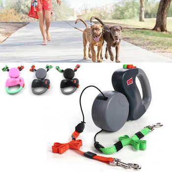 Correa de doble cabeza para mascotas, cuerda de tracción de perros retráctil automática, Correa creativa doble para perro, correa para caminar, suministros para mascotas
