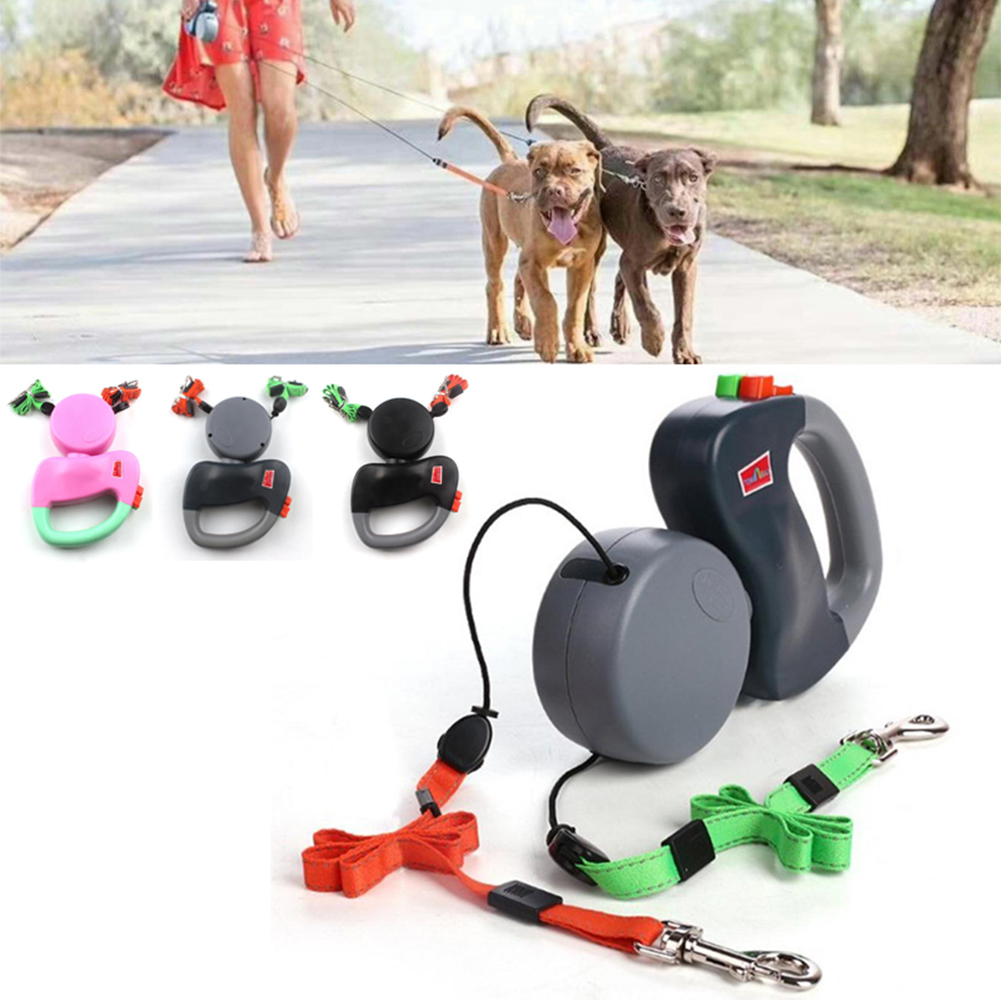 Dual Headed Pet Leashes Automatic Retractable Dogs Traction Rope Creative Double Dog Walking Leash Chain Pets Supplies