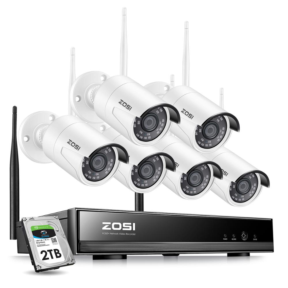 ZOSI 8CH 1080P H265+ Wifi NVR 2.0MP Security Camera System 2/6pcs IR Outdoor Waterproof CCTV Camera Wireless Surveillance System