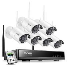 ZOSI 8CH 1080P H265 + Wifi NVR 2.0MP sistema de cámaras de seguridad 2/6 Uds IR cámara CCTV impermeable al aire libre sistema de vigilancia inalámbrico