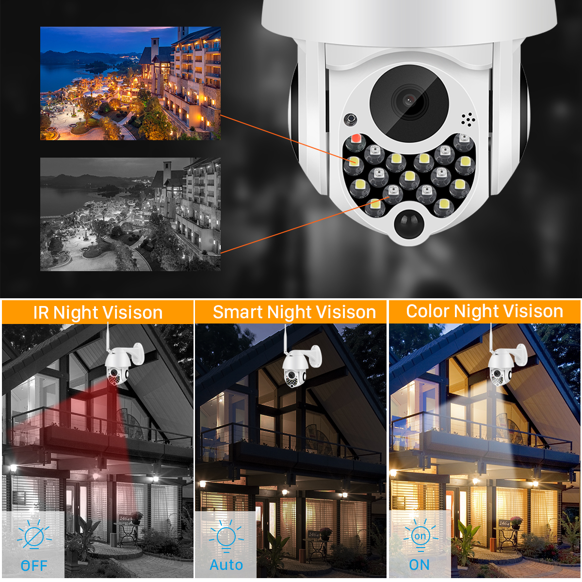 H7d9621afc5b34b7297efe4a81a71eb4d6 1080P Outdoor Wifi PTZ Camera with Siren Light Auto Tracking Cloud Home Security IP Camera 2MP 4X Digital Zoom Speed Dome Camera