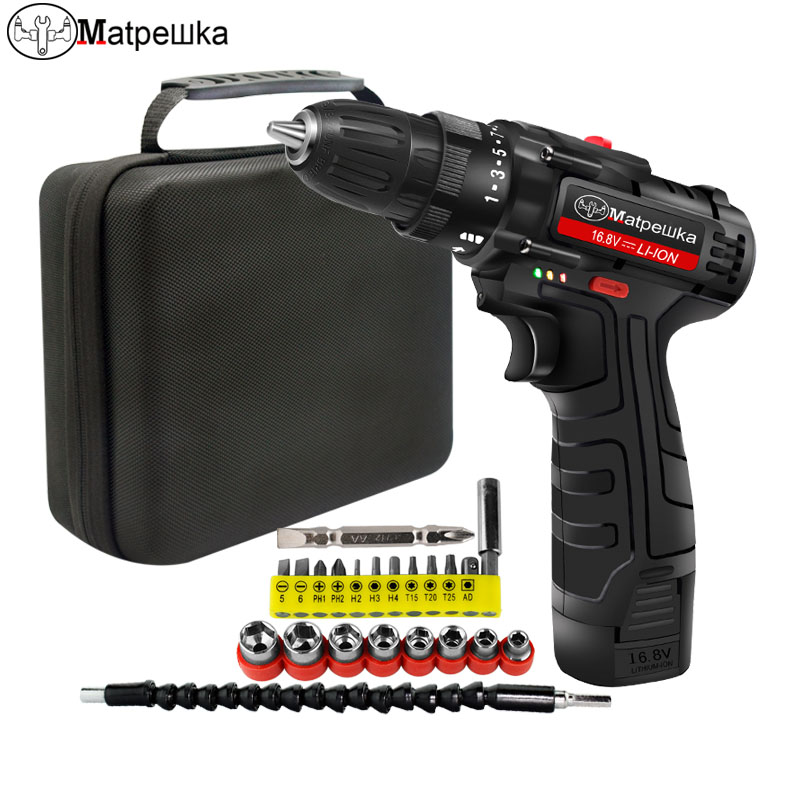 16.8V Household Cordless Electric Screwdriver Handheld Lithium-Ion Cordless Power Tool Rechargeable Mini Electric Drill