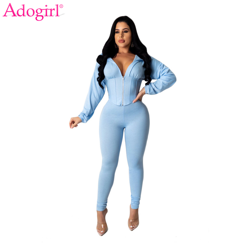Adogirl Characteristic Waist Casual Two Piece Set Zipper Long Sleeve Cropped Sweatshirt Top Pencil Pants Women Tracksuit  Outfit