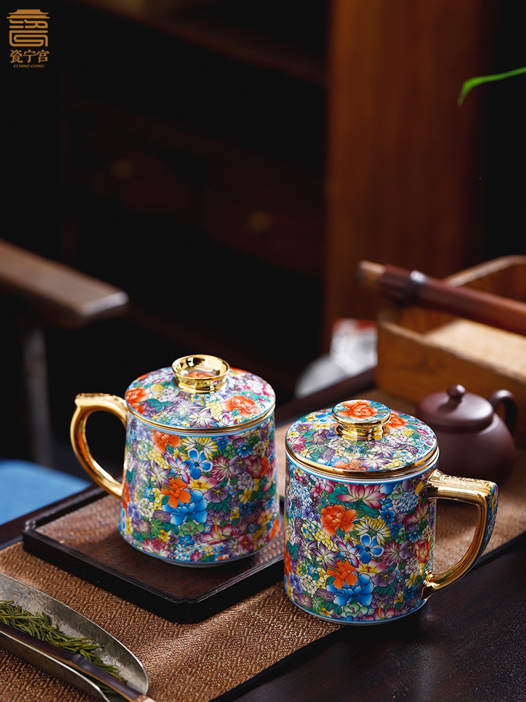 Jingdezhen Ceramic Cup Tea Water Separation Cup Household Tea Strainer Chinese Large Capacity Enamel Office Cup with Lid