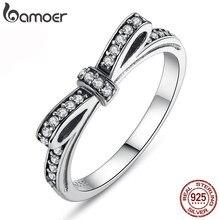 BAMOER chaud 925 en argent Sterling étincelant noeud noeud empilable anneau Micro pavé CZ pour les femmes saint valentin cadeau bijoux PA7104