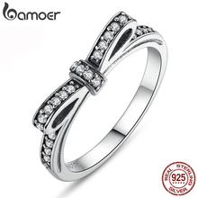 BAMOER HOT 925 Sterling Silver Sparkling Bow Knot Stackable Ring Micro Pave CZ for Women Valentines Day Gift Jewelry PA7104