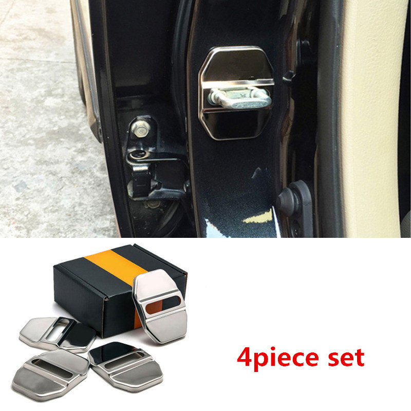 For FIAT Abarth 500 500L 500X Viaggio Ottimo Bravo Stainless Steel Door Lock Striker Cap Auto Protection Accessories N//A 4Pcs Car Styling Door Lock Cover