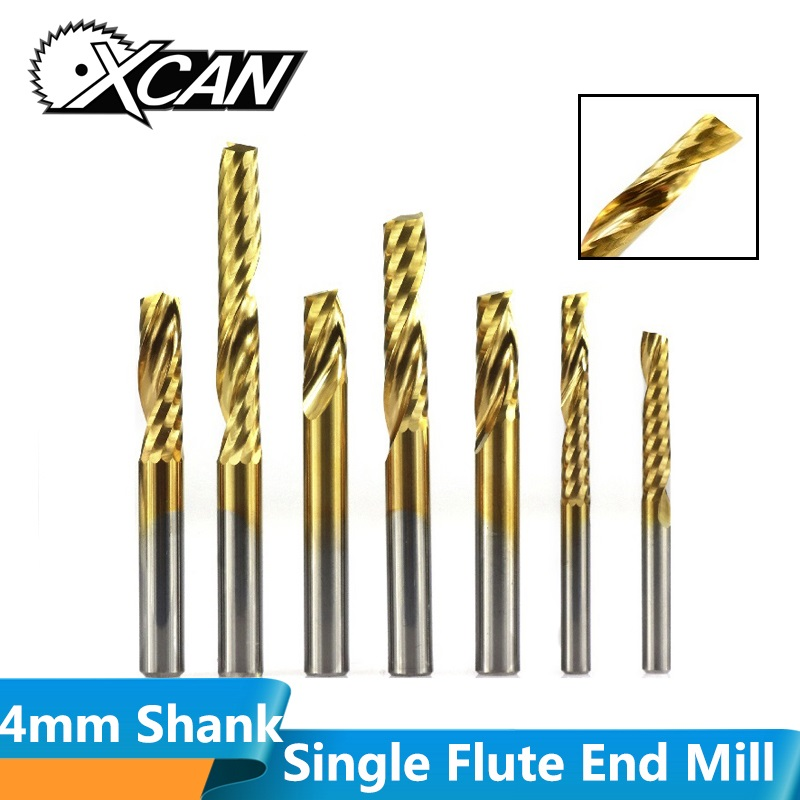 XCAN 1pc 4mm Shank Titanium Coated Single Flute End Mill Carbide Spiral End Milling Cutter CNC Engraving Bit Router Bit